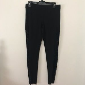 Black Leggings Mesh Velvet Panels On sides